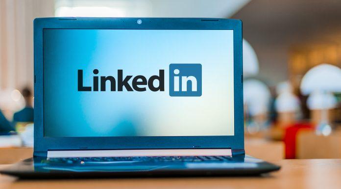 The LinkedIn logo on a laptop screen