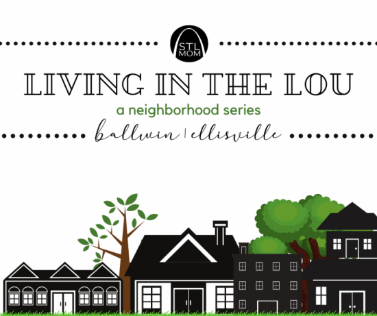 """a sketch of a neighborhood street of houses and trees, with the heater, """"Living in the Lou: A Neighborhood Series"""" along the top, and the town names, Ballwin and Ellisville"""