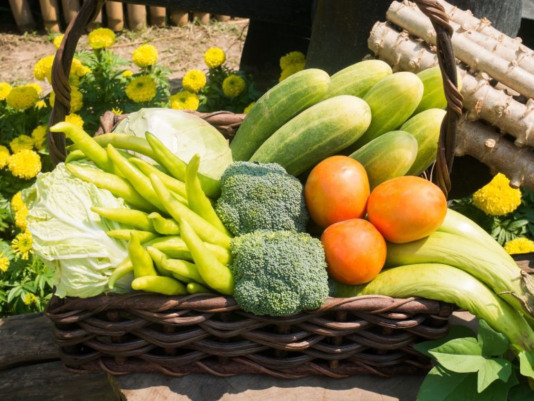 a close up of a basket of vegetables
