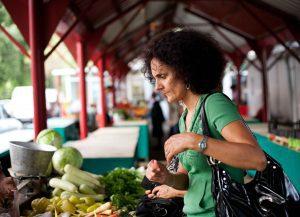 a woman at a farmers market