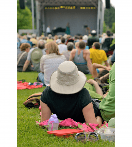 people lounging in the grass as they watch a summer concert
