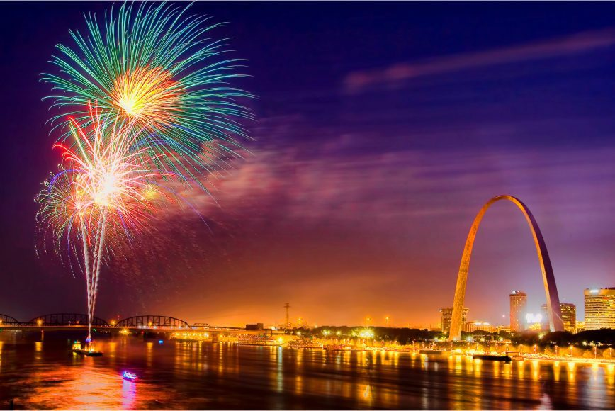 fireworks over the river by the St. Louis Arch