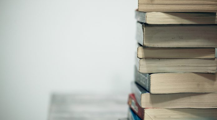 a book stack on a tabletop