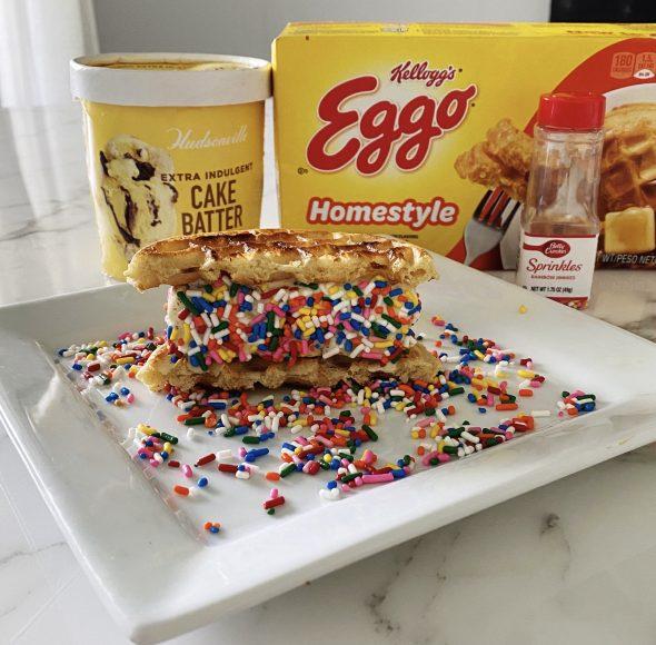 waffle ice cream sandwiches with Hudsonville Cake Batter Ice Cream and Eggo Waffles