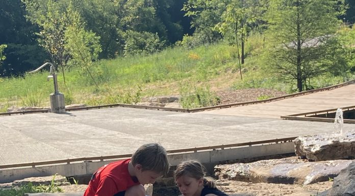 a boy and a girl crouched down as they play in a stream