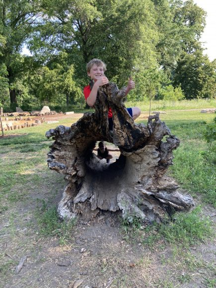 a boy climbing on a hollow log at Forest Park's Nature Playscape in St. Louis