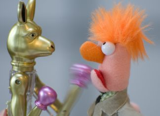 a toy kangaroo with boxing gloves punching a puppet, representing fighting fair