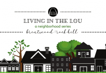 """a black and white sketch of homes in a neighborhood, with green trees poking up behind and the banner, """"Living in the Lou: Brentwood / Rockhill"""" up top"""