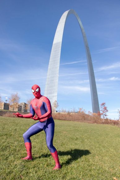 Spiderman character by the St. Louis Arch