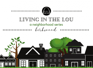 """a black and white sketch of homes in a neighborhood with green trees in the background with a banner above saying, """"Living in the Lou: a neighborhood series - Kirkwood"""""""