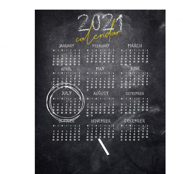 a 2021 chalkboard calendar with the month of July circled in chalk