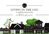"""A black and white image of a neighborhood with various homes, and green trees in the background with the title, """"Living in the Lou, A Neighborhood Series: Webster Groves"""""""