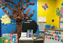 an elementary classroom, with charts on the wall, magnetic alphabet letters on an easel, and a tree on the wall made from craft paper