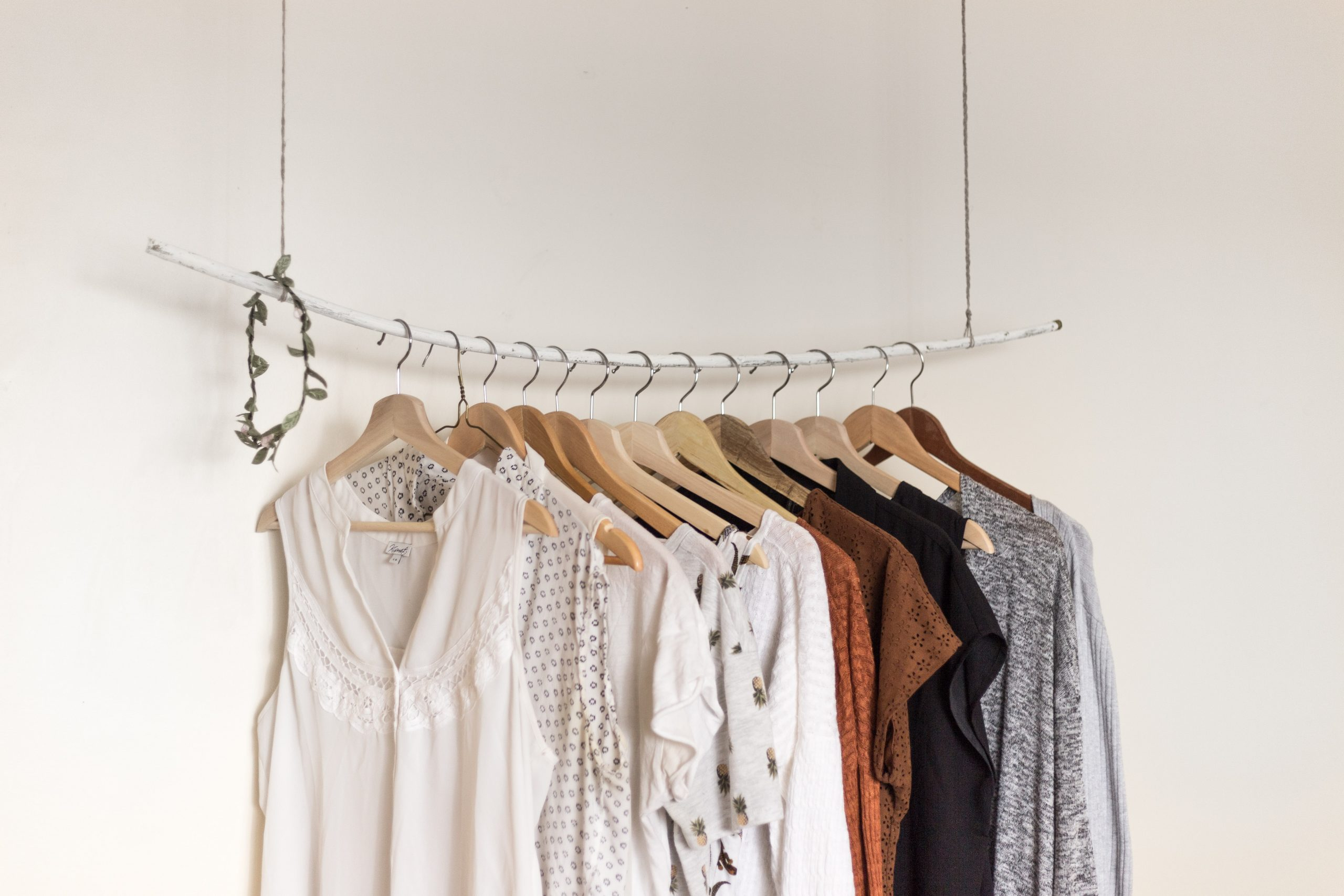 a rack of boutique clothing