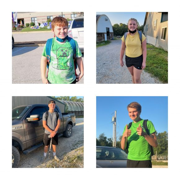 kids posing with backpacks for their back-to-school photos