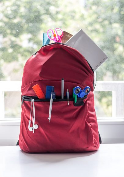 a backpack full of school supplies