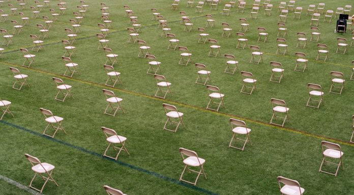 chairs set up six feet apart per COVID protocols