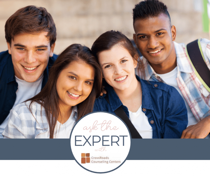 """Four teenagers smiling, with a """"ask the expert"""" logo for a post about adolescent mental health"""