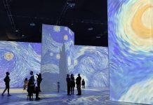 one of the exhibits of a Starry Night at Beyond Van Gogh in St. Louis, MO